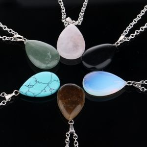 Jewelry - Natural Pink Crystal Quartz Agate Pendant Necklace